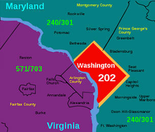 area code map Wasgington DC